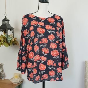 Banana Republic Floral Long Sleeve Blouse Navy S